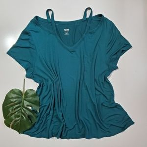 Mossimo   Teal Cut Out T-Shirt